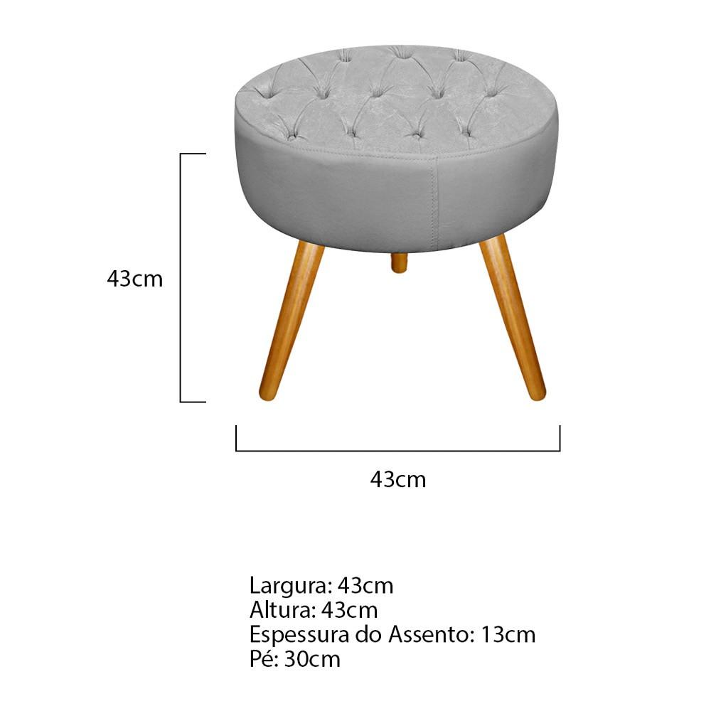 Kit 03 Puffs Fernanda Palito Mel Suede Cinza - ADJ Decor