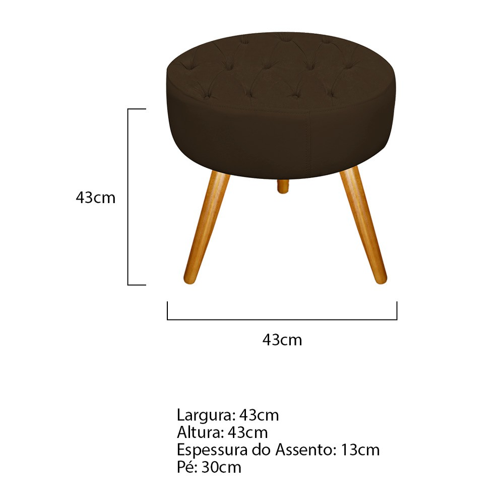 Kit 03 Puffs Fernanda Palito Mel Suede Marrom - ADJ Decor
