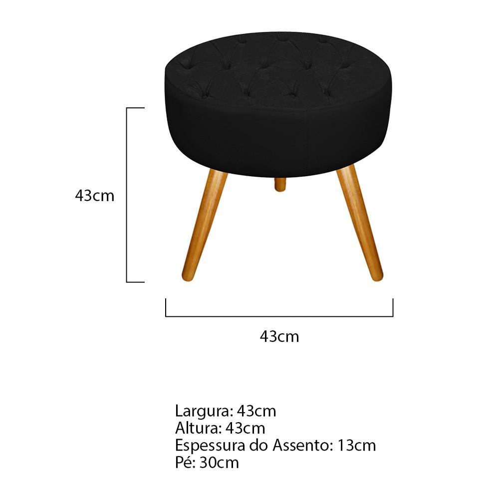 Kit 03 Puffs Fernanda Palito Mel Suede Preto - ADJ Decor