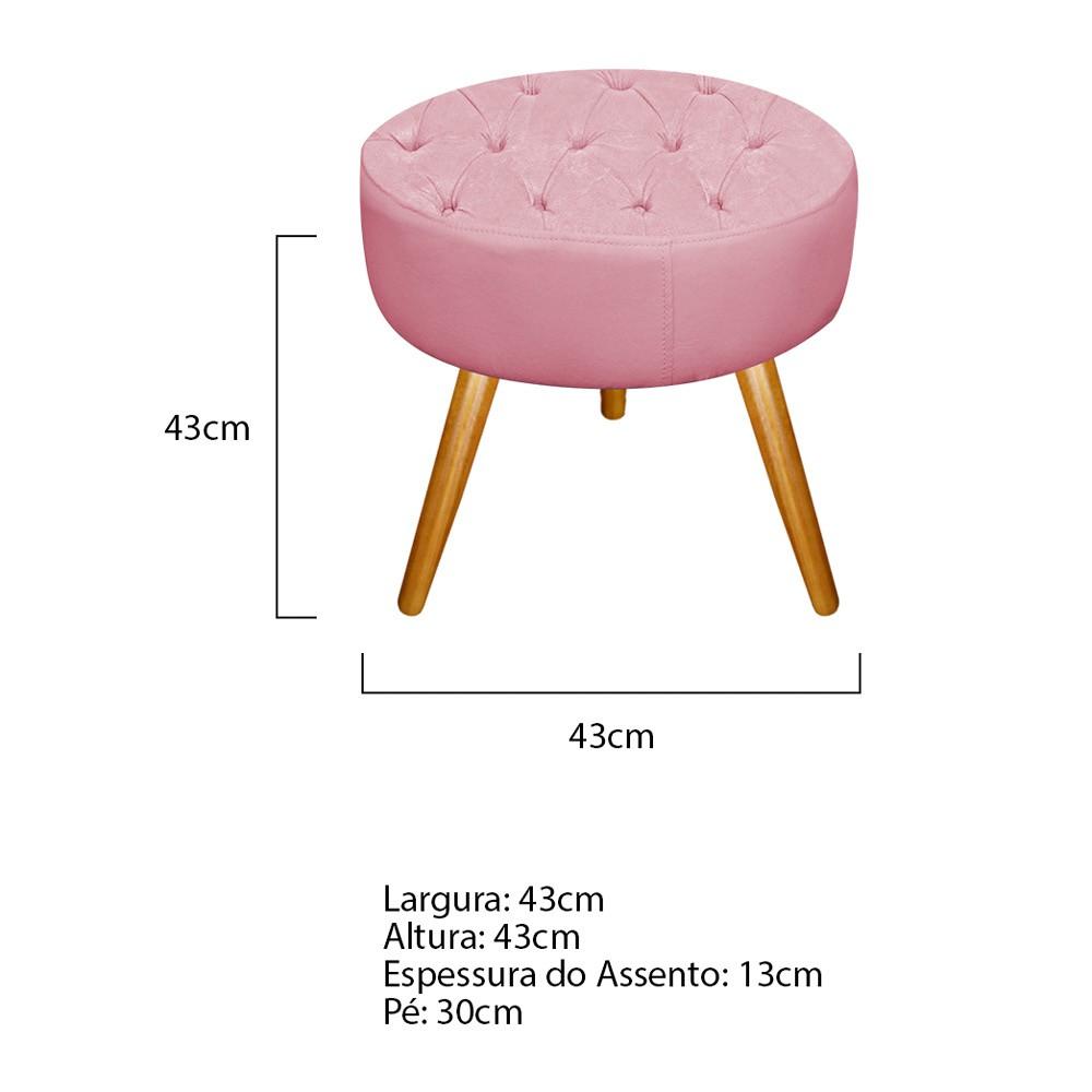 Kit 03 Puffs Fernanda Palito Mel Suede Rosa Bebê - ADJ Decor