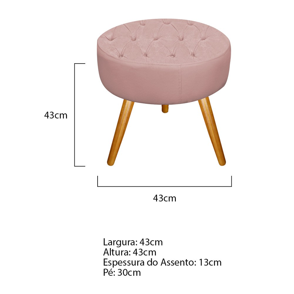 Kit 03 Puffs Fernanda Palito Mel Suede Rosê - ADJ Decor