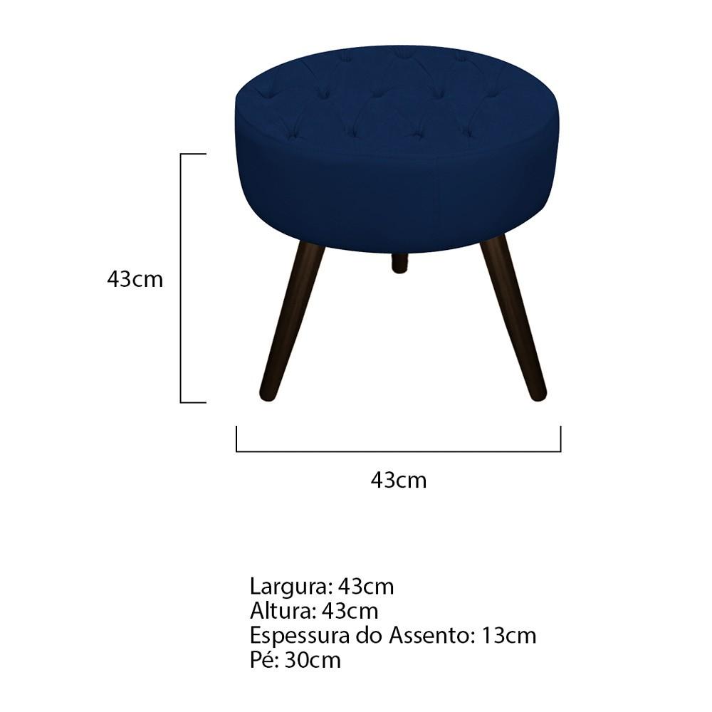 Kit 03 Puffs Fernanda Palito Tabaco Suede Azul Marinho - ADJ Decor