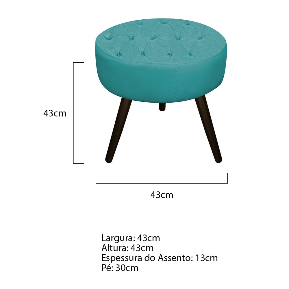 Kit 03 Puffs Fernanda Palito Tabaco Suede Azul Turquesa - ADJ Decor