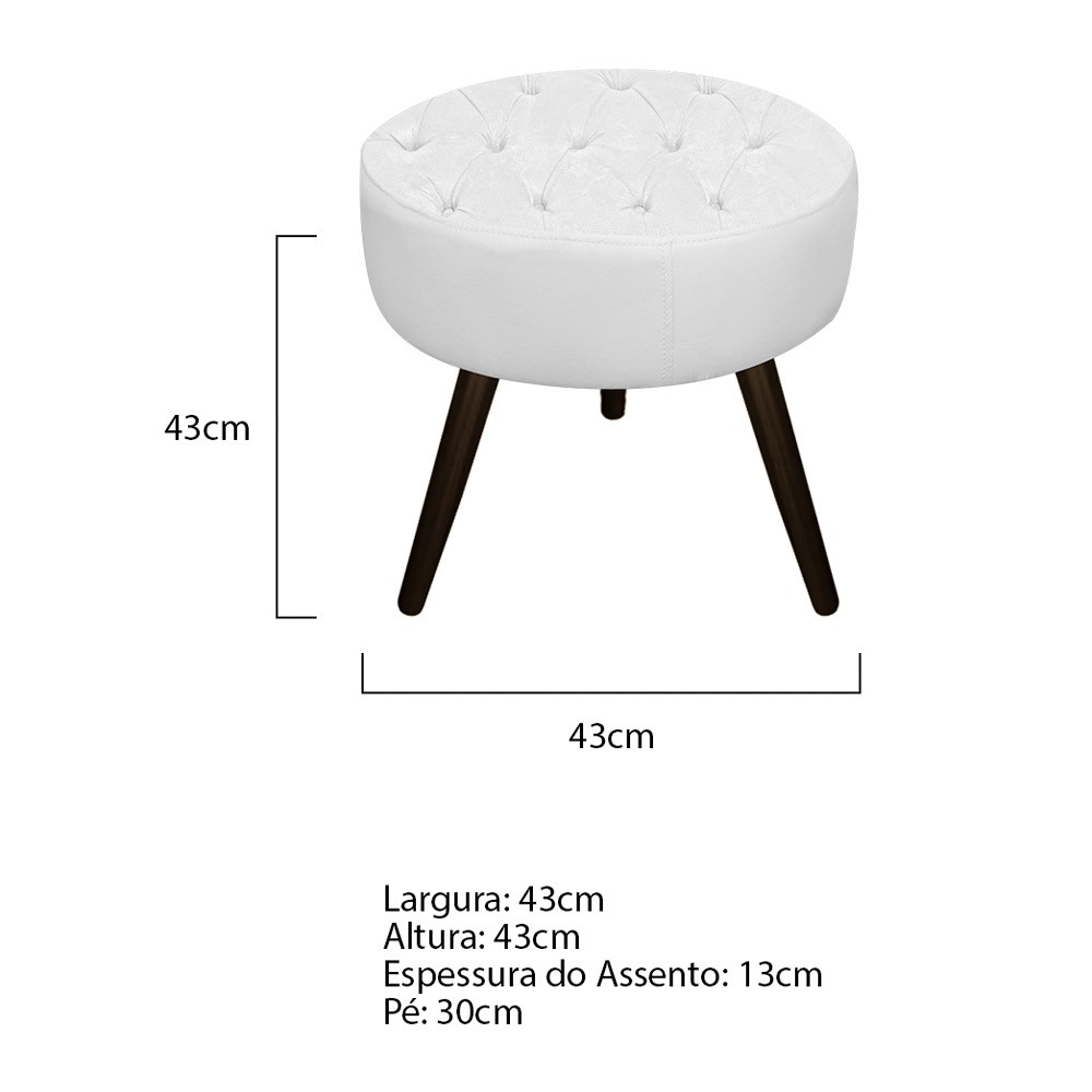 Kit 03 Puffs Fernanda Palito Tabaco Suede Branco - ADJ Decor