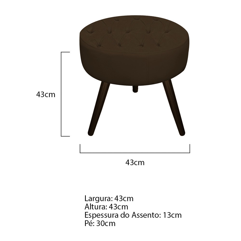 Kit 03 Puffs Fernanda Palito Tabaco Suede Marrom - ADJ Decor