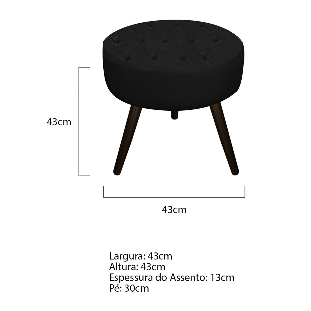 Kit 03 Puffs Fernanda Palito Tabaco Suede Preto - ADJ Decor
