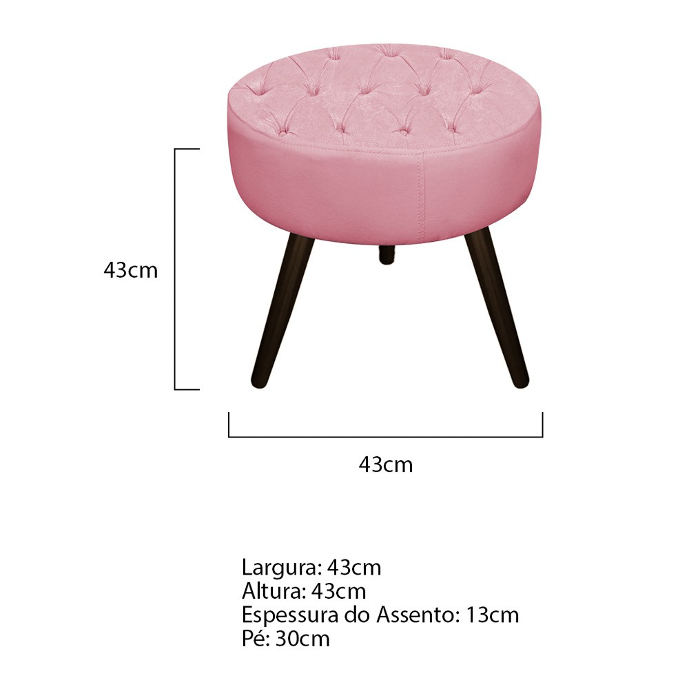 Kit 03 Puffs Fernanda Palito Tabaco Suede Rosa Bebê - ADJ Decor