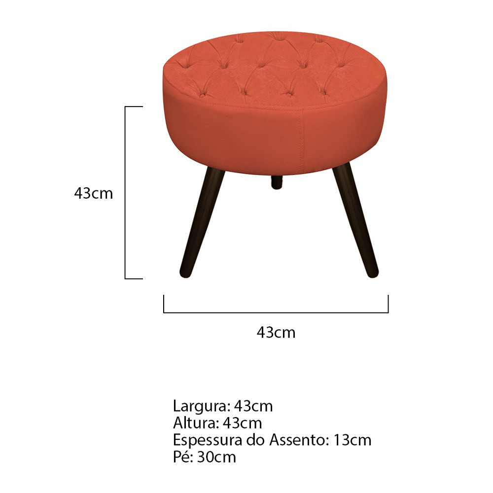 Kit 03 Puffs Fernanda Palito Tabaco Suede Terracota - ADJ Decor