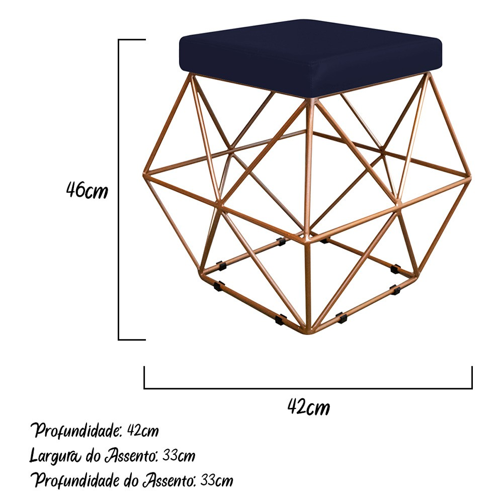 Kit 03 Puffs Quadrado Aramado Elsa Corano Azul Marinho - ADJ Decor