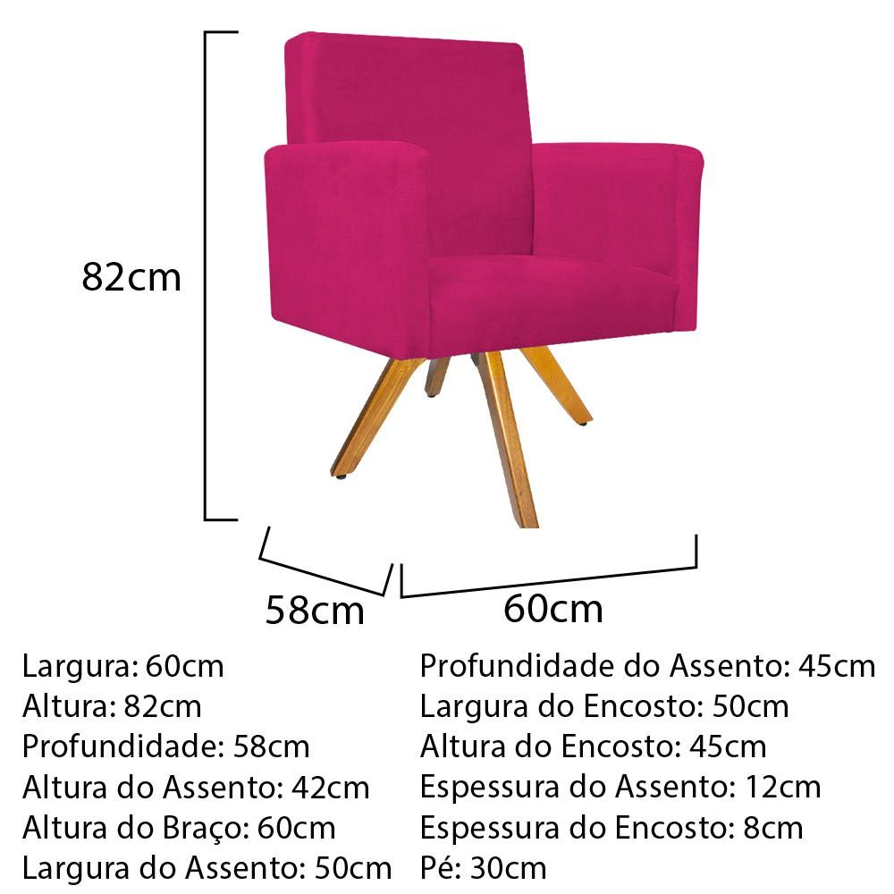 Kit 04 Poltronas Beatriz Base Giratória de Madeira Suede Pink - ADJ Decor