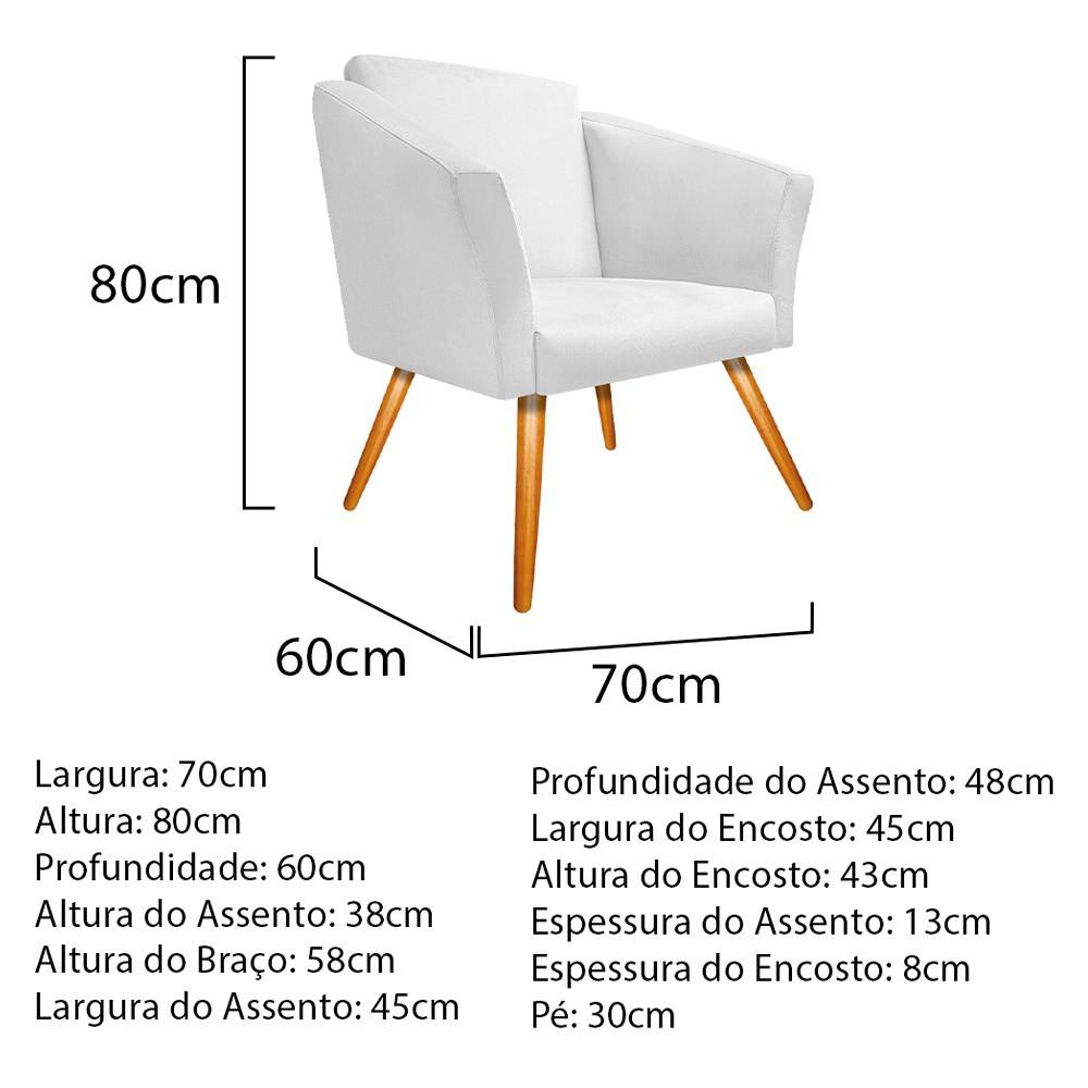 kit 04 Poltronas Diana Palito Mel Suede Branco - ADJ Decor