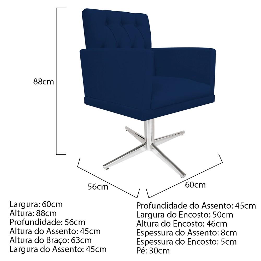 kit 04 Poltronas Fernanda Base Giratória de Metal Suede Azul Marinho - ADJ Decor