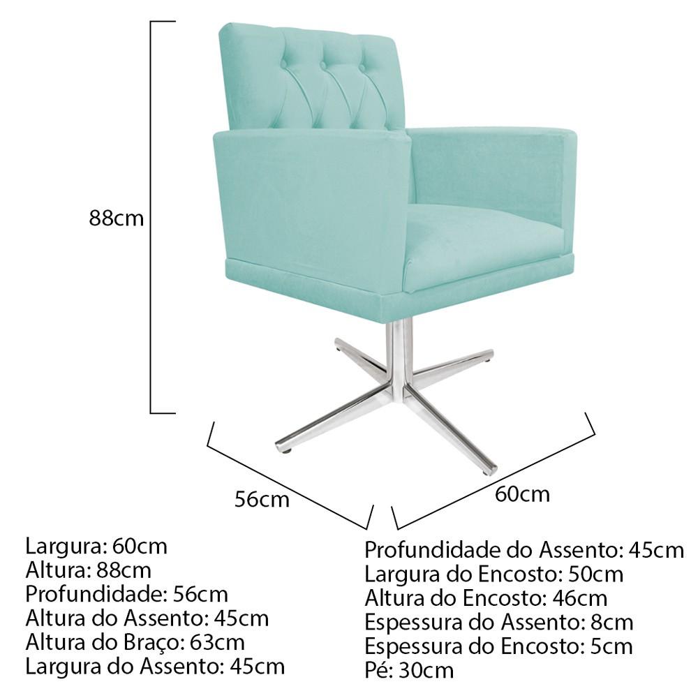 kit 04 Poltronas Fernanda Base Giratória de Metal Suede Azul Tiffany - ADJ Decor