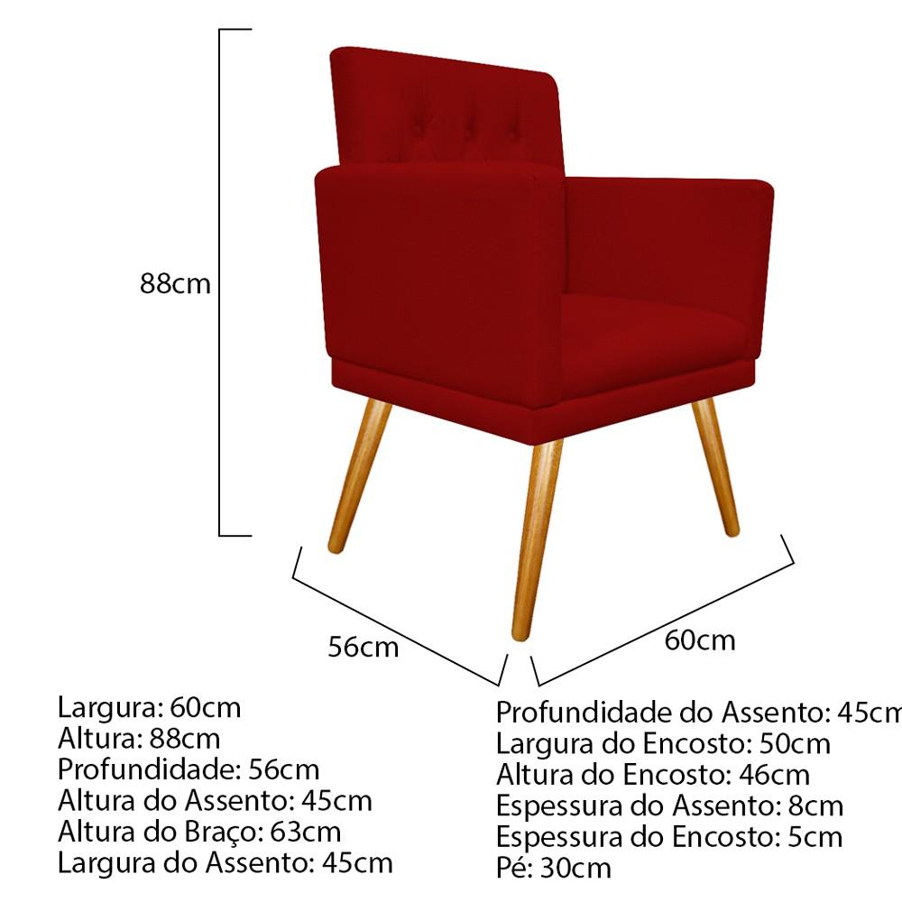 kit 04 Poltronas Fernanda Palito Mel Corano Vermelho - ADJ Decor