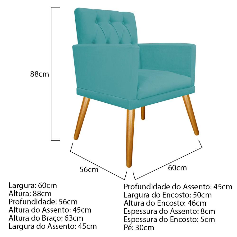 kit 04 Poltronas Fernanda Palito Mel Suede Azul Turquesa - ADJ Decor