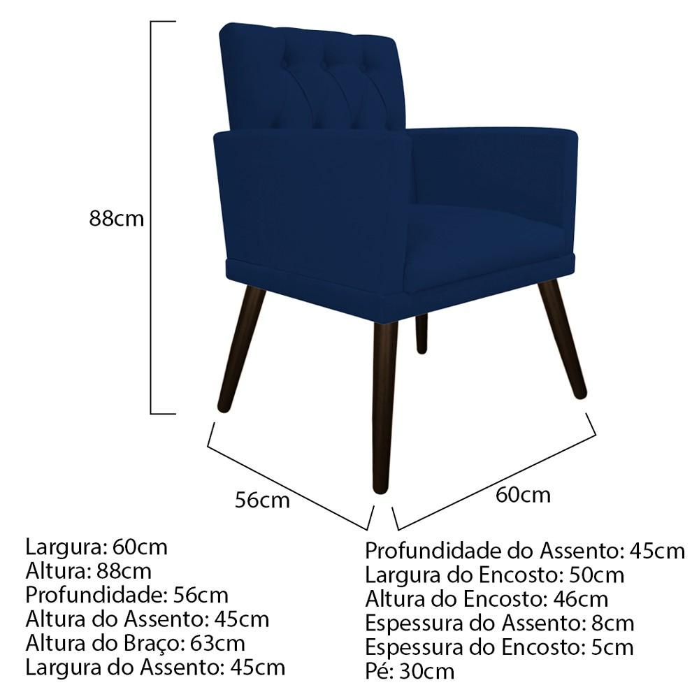 kit 04 Poltronas Fernanda Palito Tabaco Suede Azul Marinho - ADJ Decor