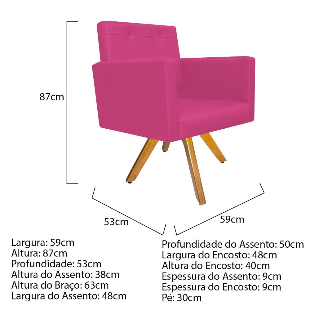 Kit 04 Poltronas Gênesis Base Giratória de Madeira Corano Pink - ADJ Decor