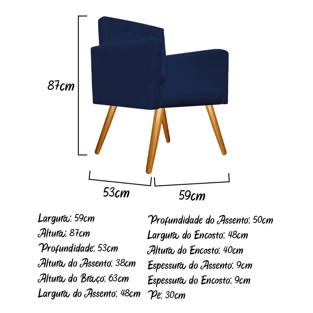 kit 04 Poltronas Gênesis Palito Mel Suede Azul Marinho - ADJ Decor