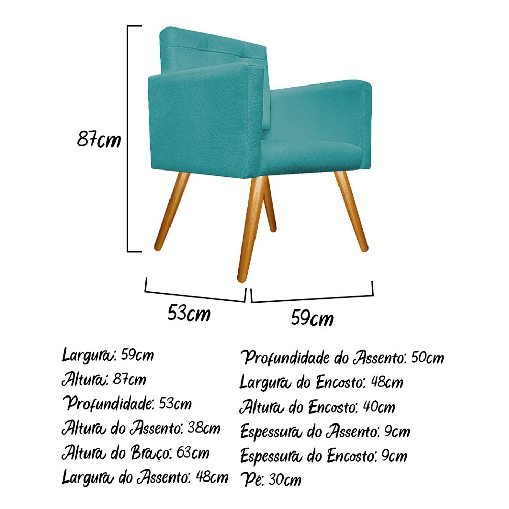 kit 04 Poltronas Gênesis Palito Mel Suede Azul Turquesa - ADJ Decor