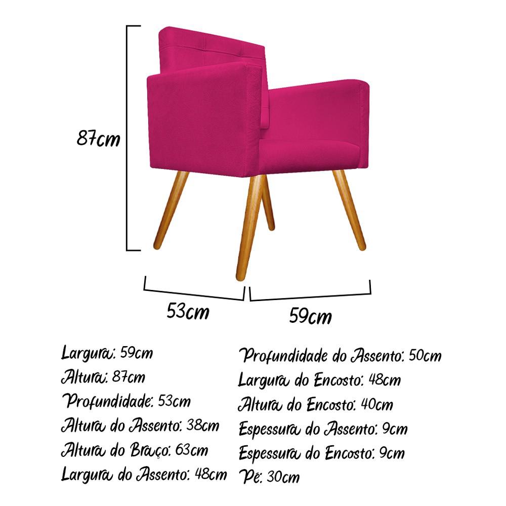 kit 04 Poltronas Gênesis Palito Mel Suede Pink - ADJ Decor