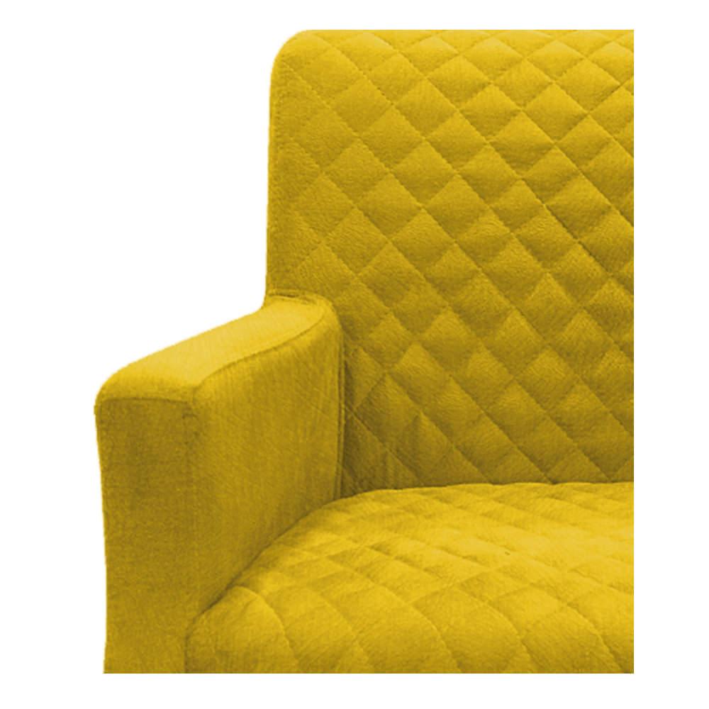 kit 04 Poltronas Juliana Palito Mel Suede Amarelo - ADJ Decor