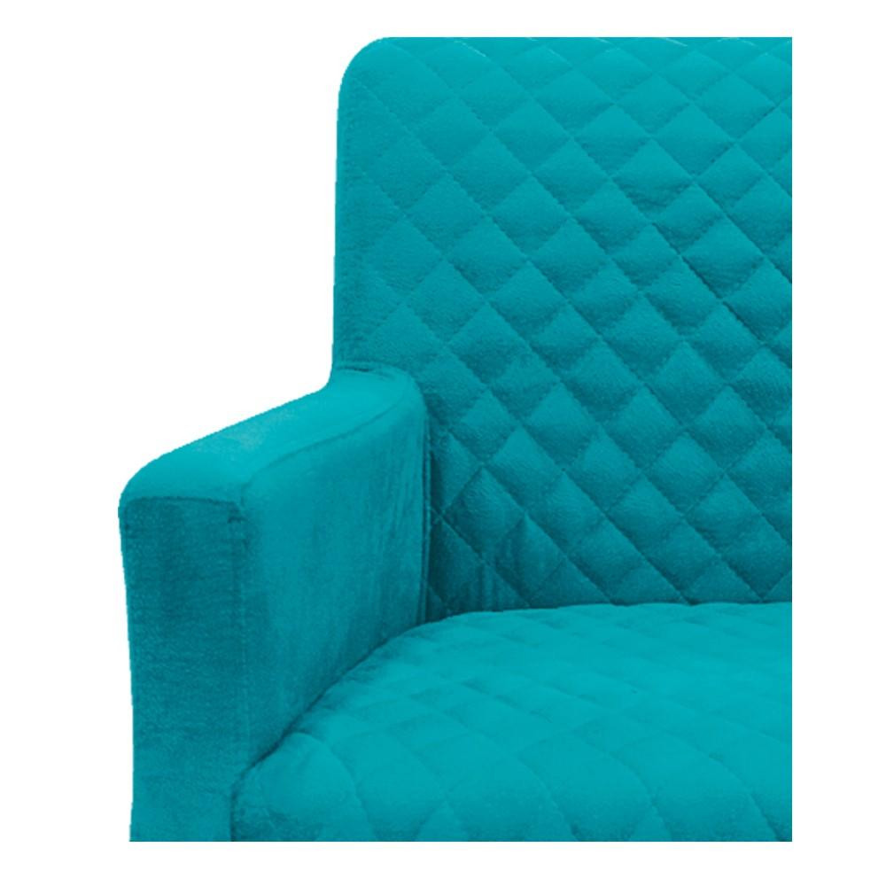kit 04 Poltronas Juliana Palito Mel Suede Azul Turquesa - ADJ Decor