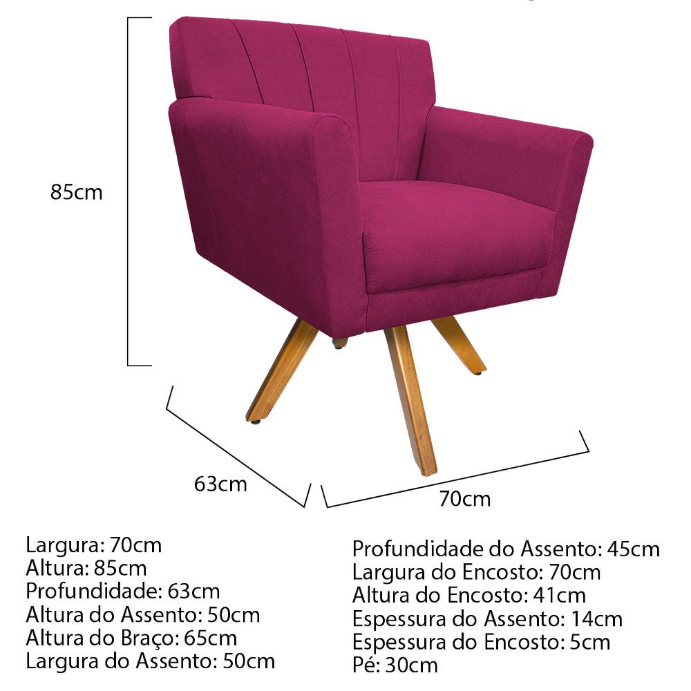 Kit 04 Poltronas Laura Base Giratória de Madeira Suede Pink - ADJ Decor