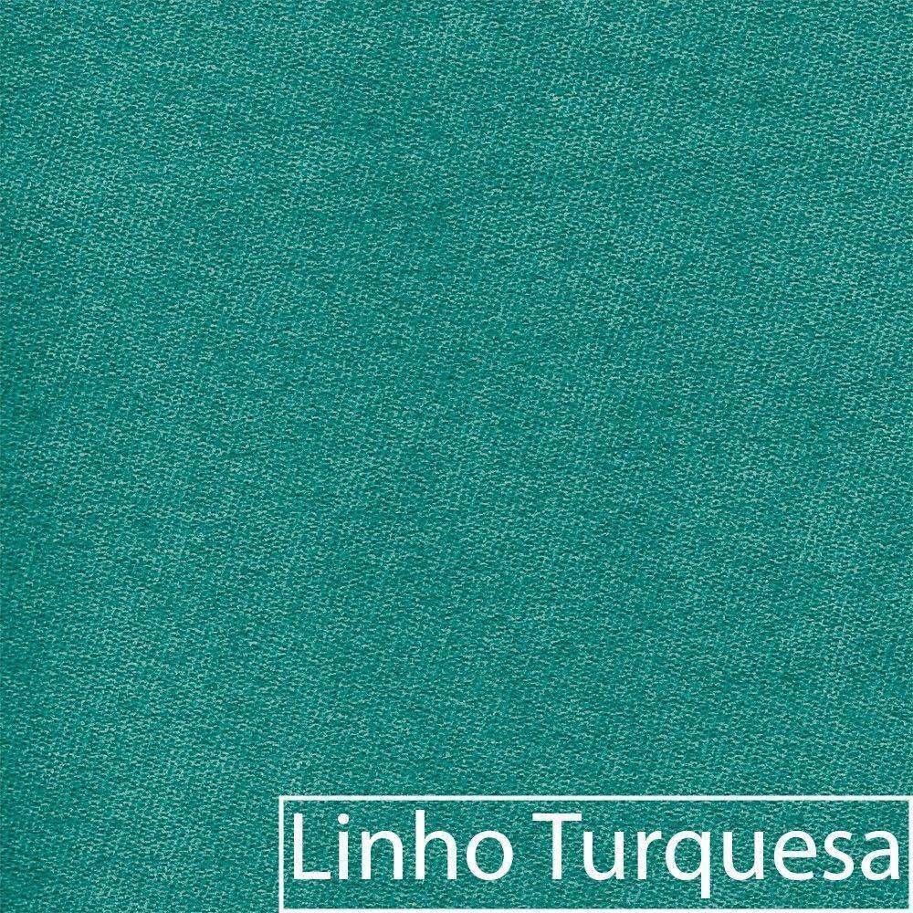 kit 04 Poltronas Luiza Base Giratória de Madeira Linho Azul Turquesa - ADJ Decor