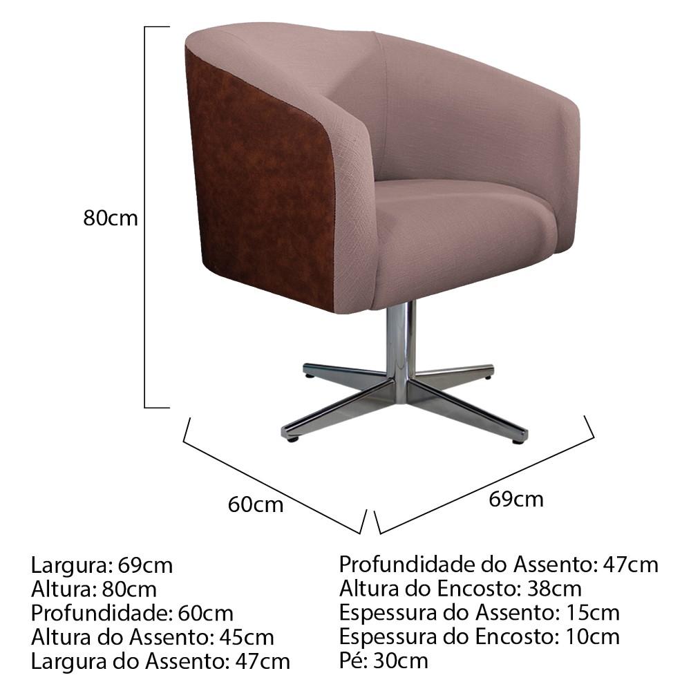 kit 04 Poltronas Luiza Base Giratória de Metal Corano Nozes e Linho Rosê - ADJ Decor