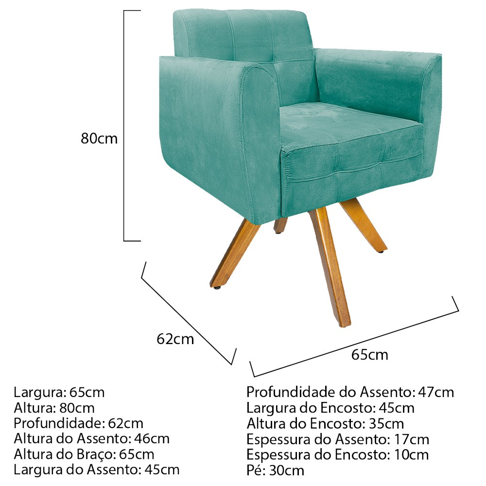 Kit 04 Poltronas Stella Base Giratória de Madeira Suede Azul Tiffany - ADJ Decor