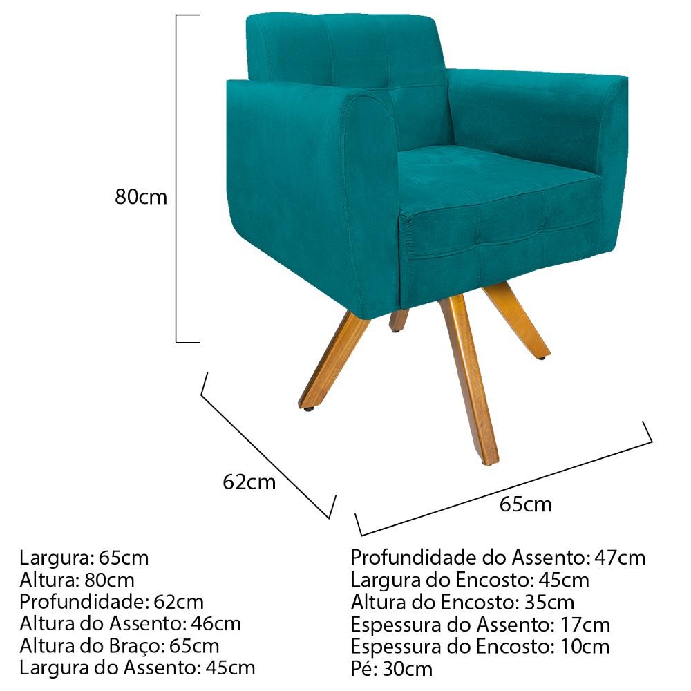 Kit 04 Poltronas Stella Base Giratória de Madeira Suede Azul Turquesa - ADJ Decor