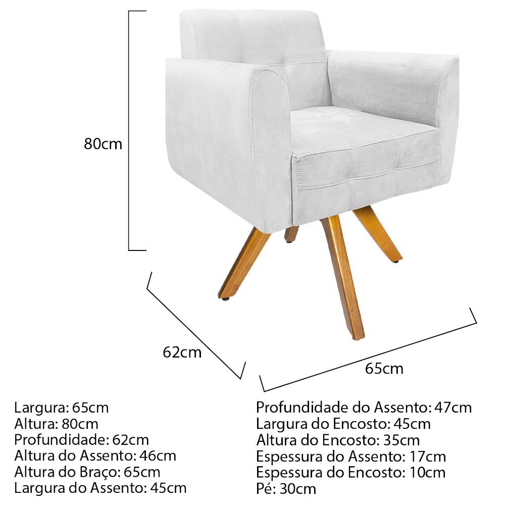 Kit 04 Poltronas Stella Base Giratória de Madeira Suede Branco - ADJ Decor
