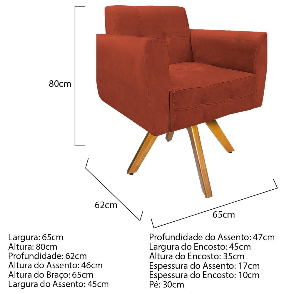 Kit 04 Poltronas Stella Base Giratória de Madeira Suede Terracota - ADJ Decor