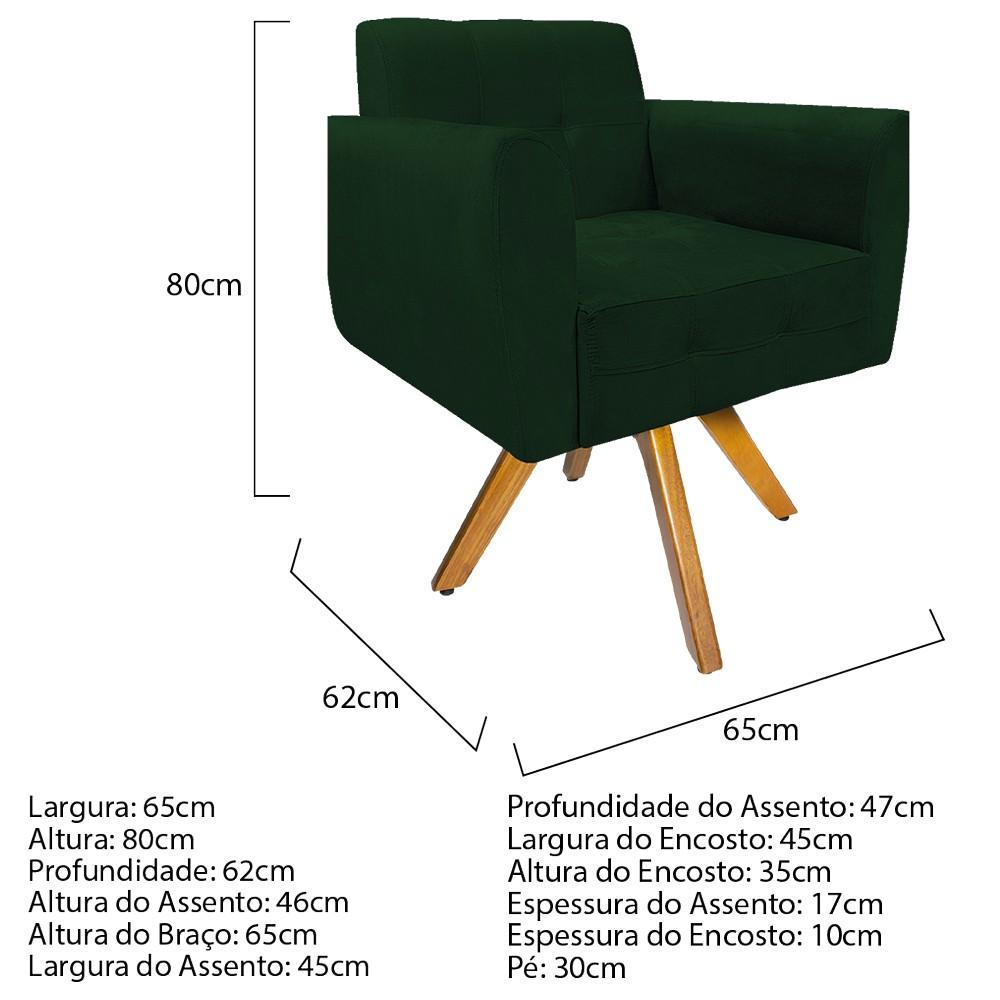 Kit 04 Poltronas Stella Base Giratória de Madeira Suede Verde - ADJ Decor
