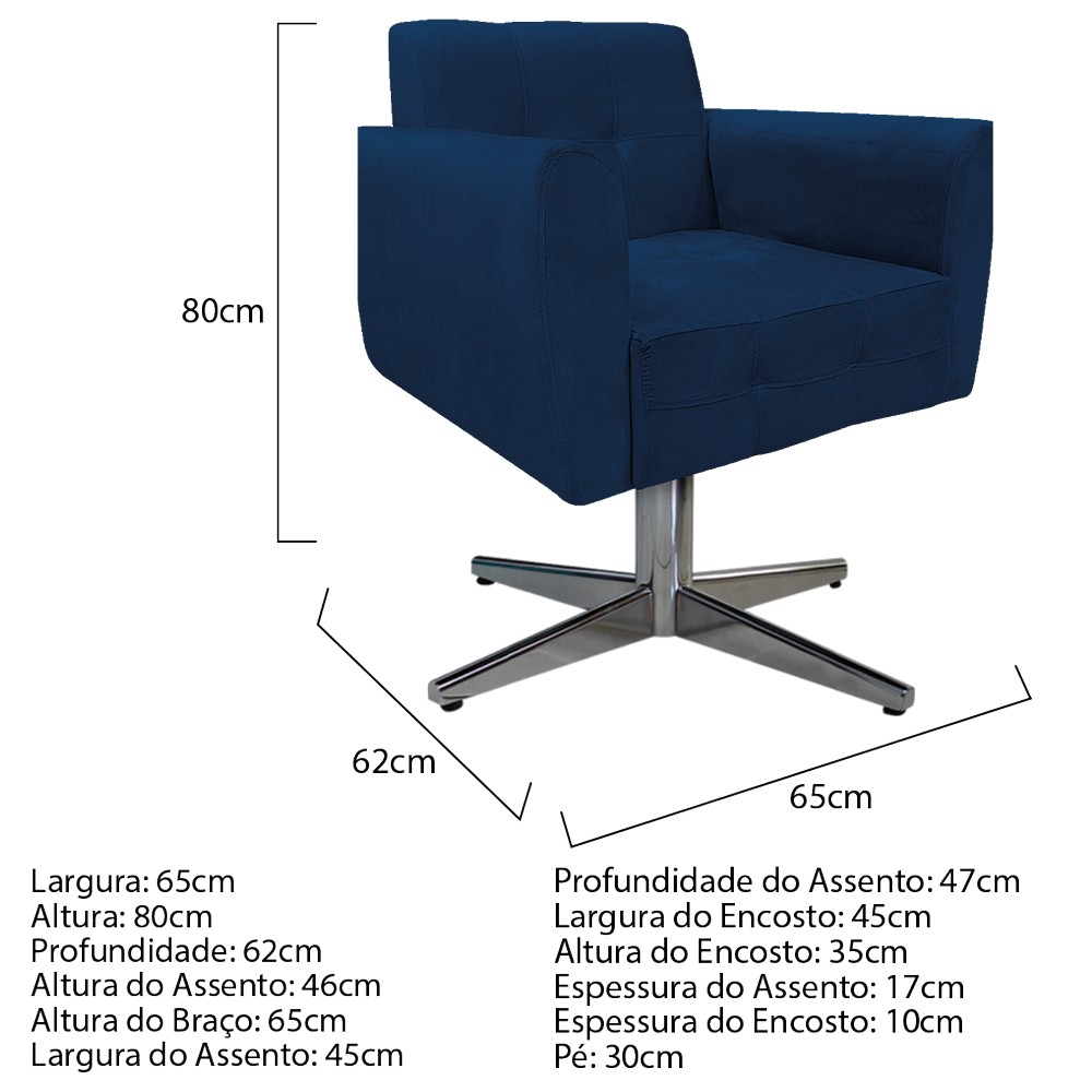 Kit 04 Poltronas Stella Base Giratória de Metal Suede Azul Marinho - ADJ Decor