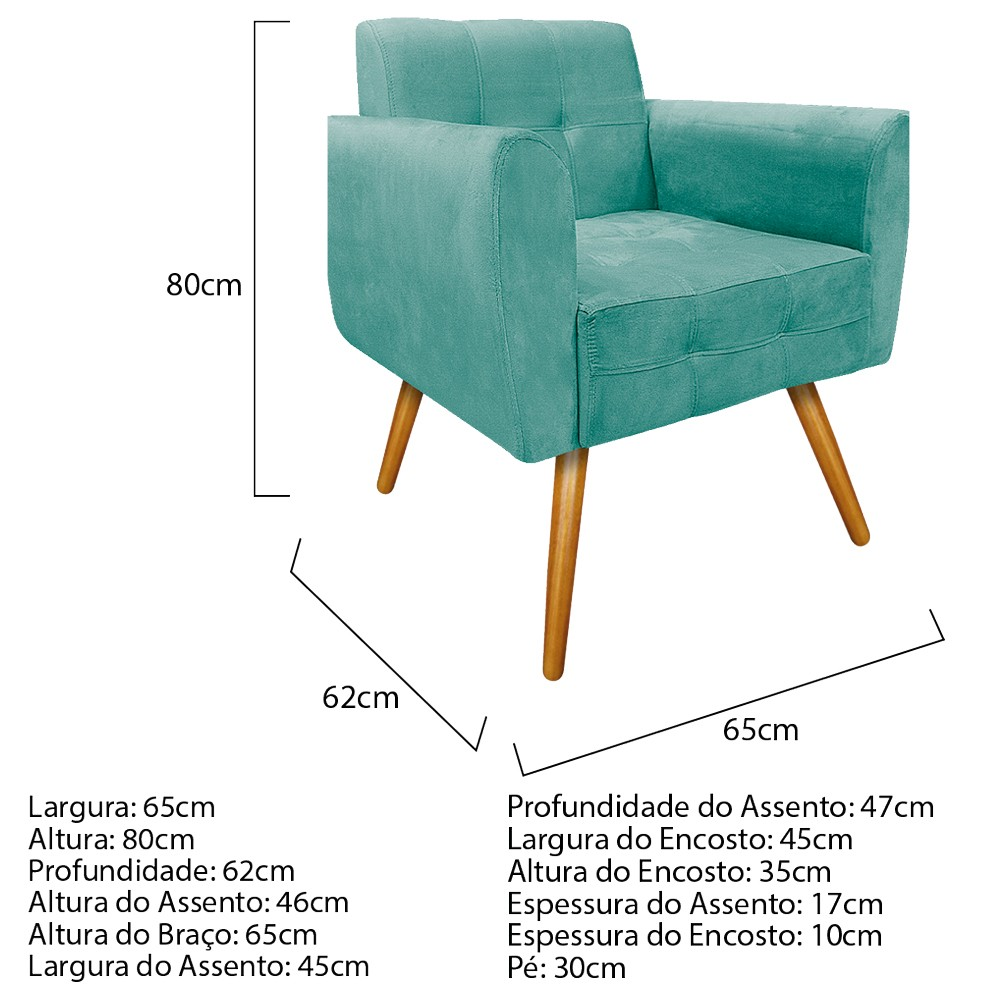 kit 04 Poltronas Stella Palito Mel Suede Azul Tiffany - ADJ Decor