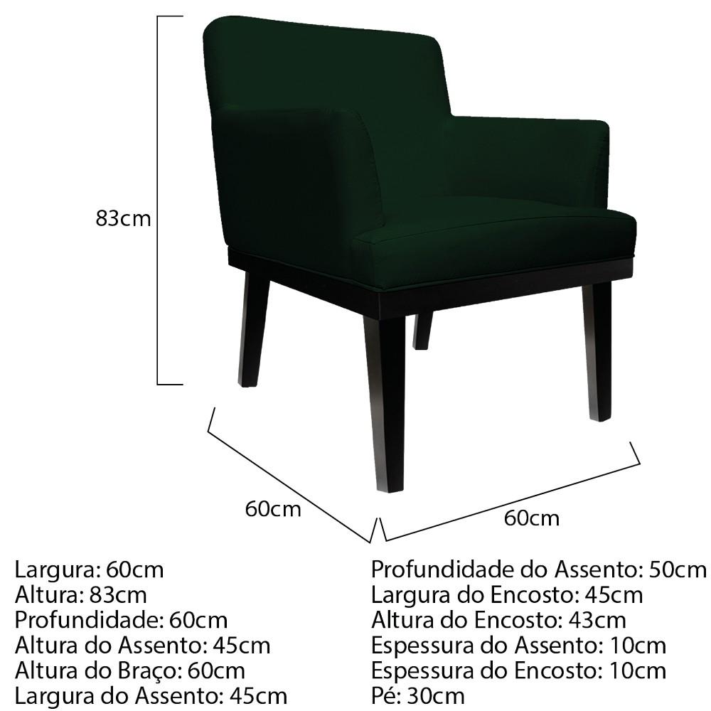 kit 04 Poltronas Vitória Suede Verde - ADJ Decor