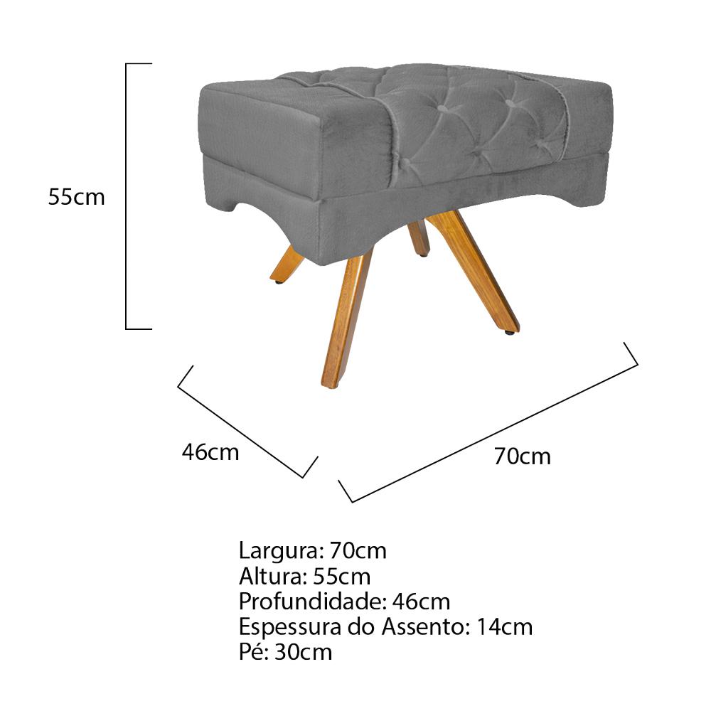 Kit 04 Puff Berlim Base Giratória de Madeira Suede Cinza - ADJ Decor