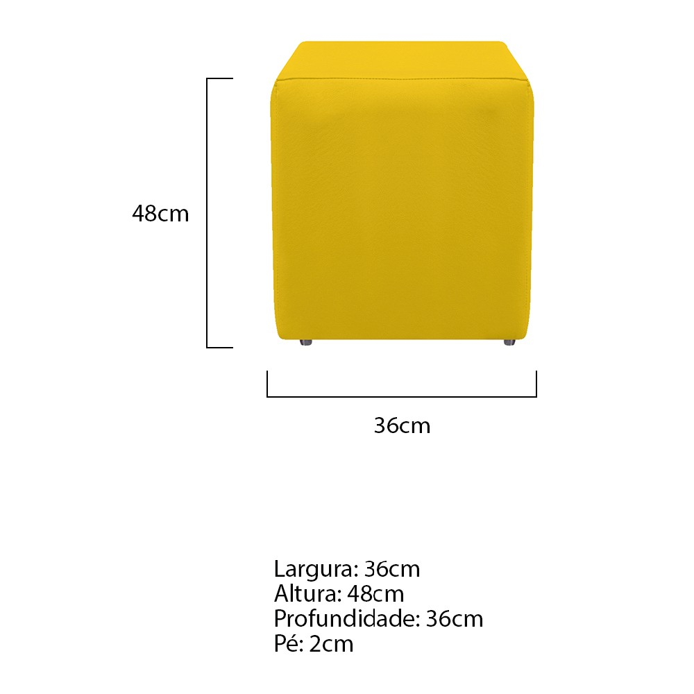 Kit 04 Puffs Decorativos Dado Corano Amarelo - ADJ DECOR