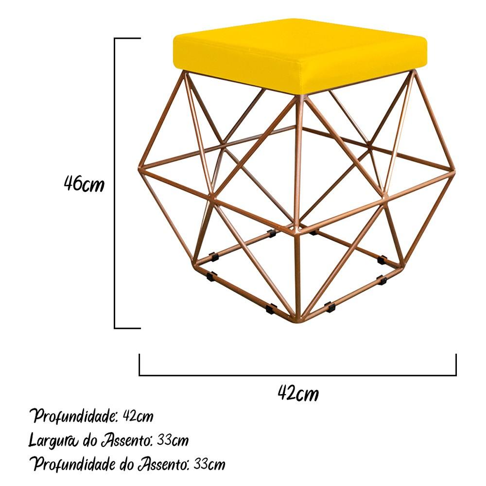 Kit 04 Puffs Quadrado Aramado Elsa Corano Amarelo - ADJ Decor