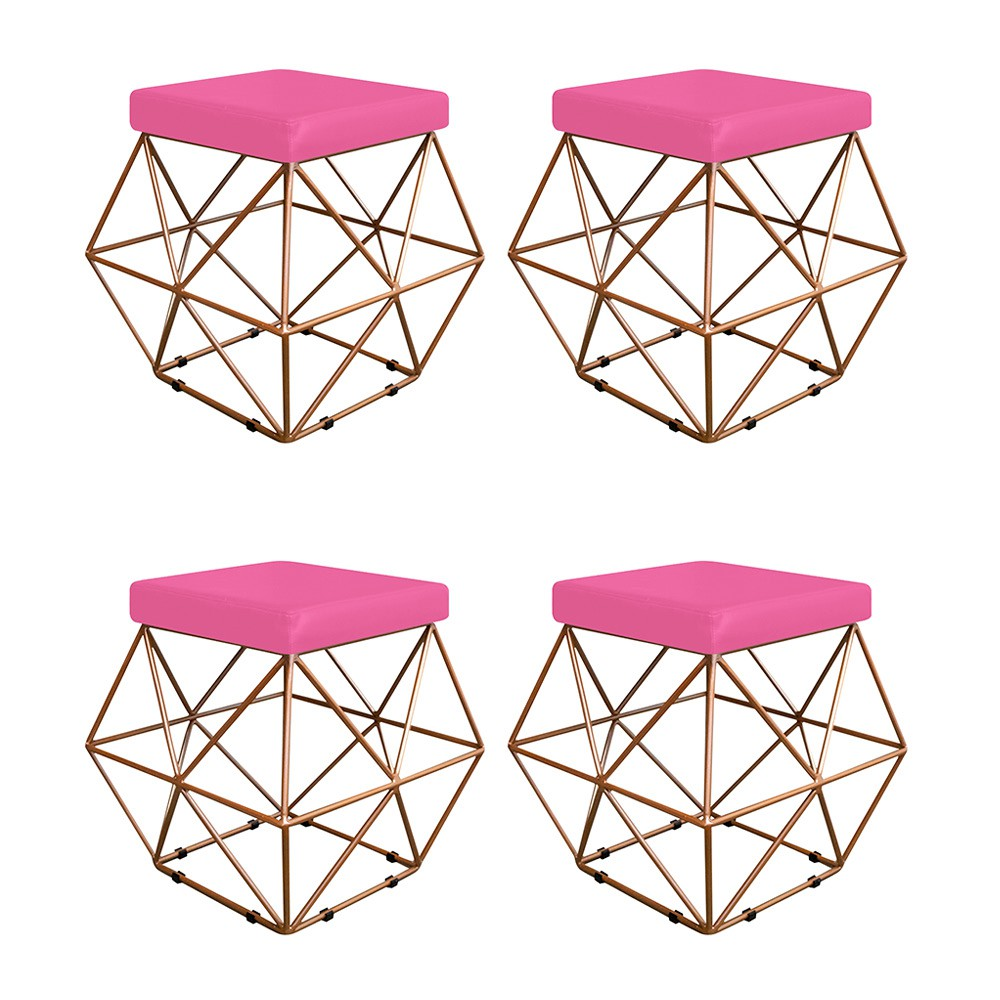 Kit 04 Puffs Quadrado Aramado Elsa Corano Pink - ADJ Decor