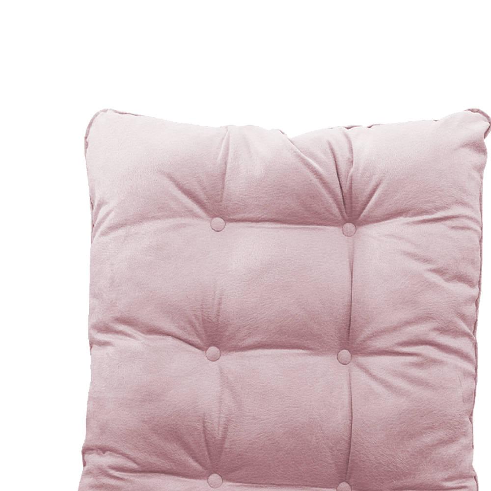 Kit Almofadas para Poltrona e Puff Costela Corano Rosa Bebê - ADJ Decor