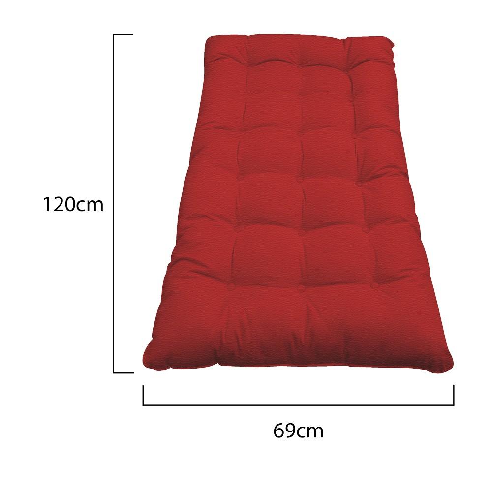 Kit Almofadas para Poltrona e Puff Costela Corano Vermelho - ADJ Decor