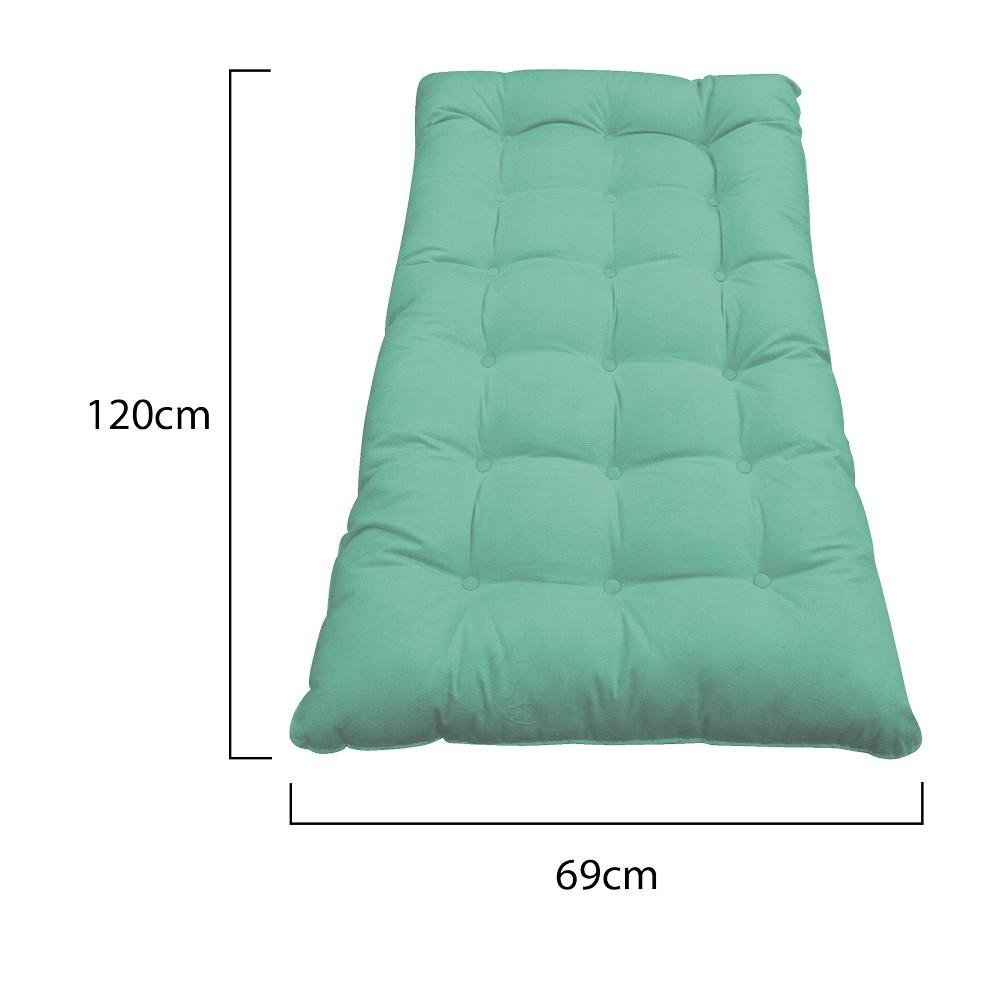 Kit Almofadas para Poltrona e Puff Costela Linho Azul Turquesa - ADJ Decor