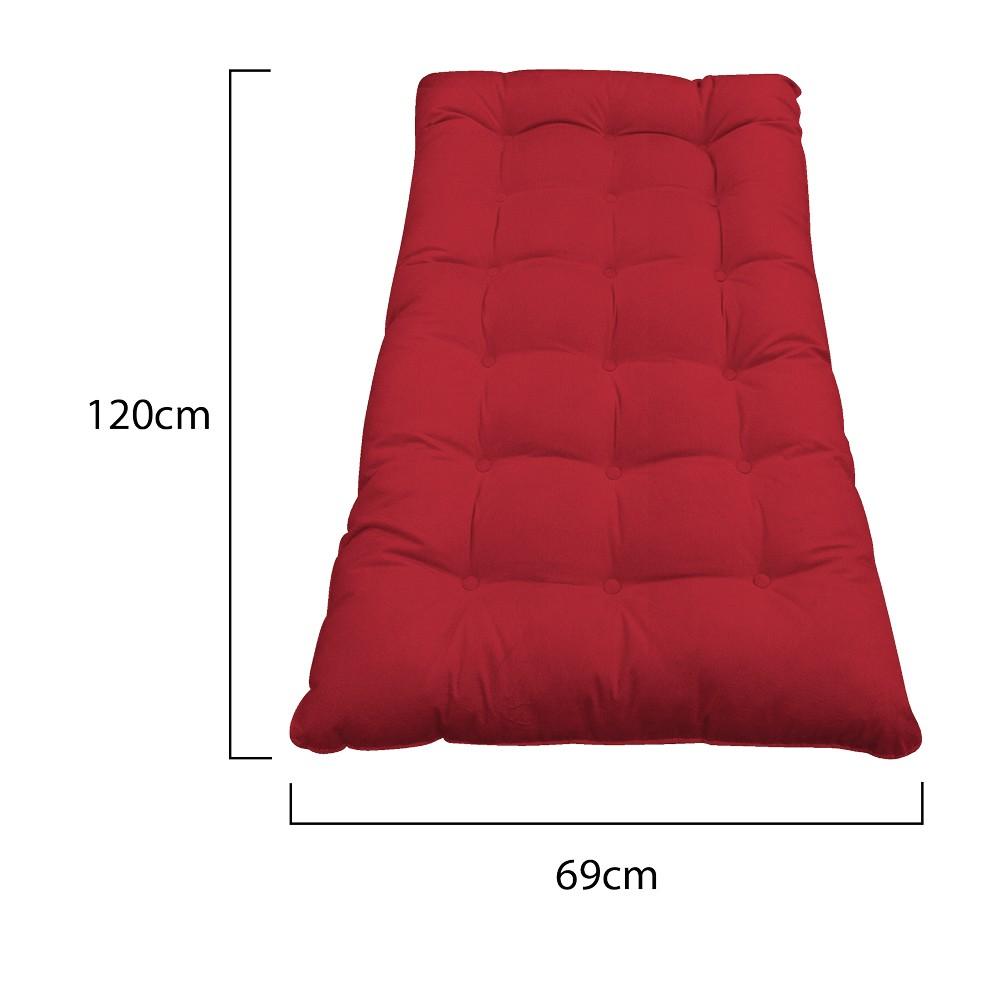 Kit Almofadas para Poltrona e Puff Costela Suede Vermelho - ADJ Decor