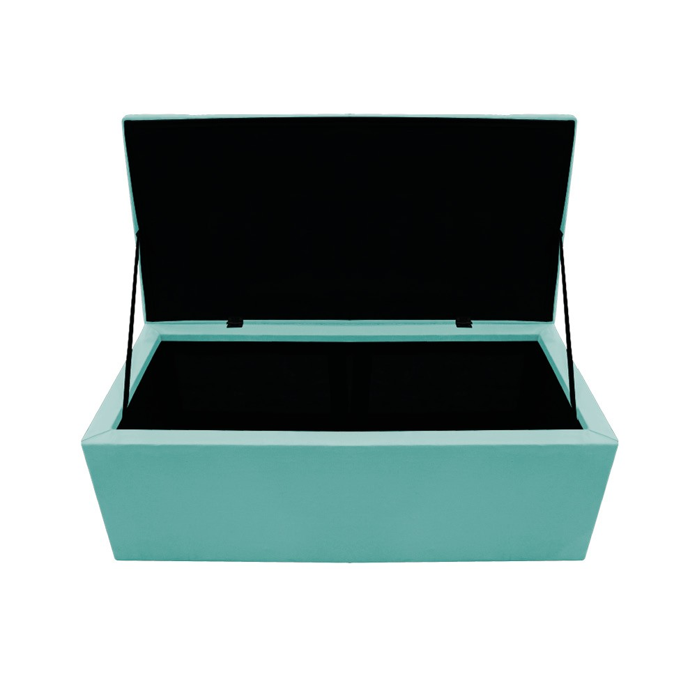 Kit Cabeceira e Calçadeira Baú Estofada Mel 100 cm Solteiro Com Botonê Suede Azul Tiffany - ADJ Decor