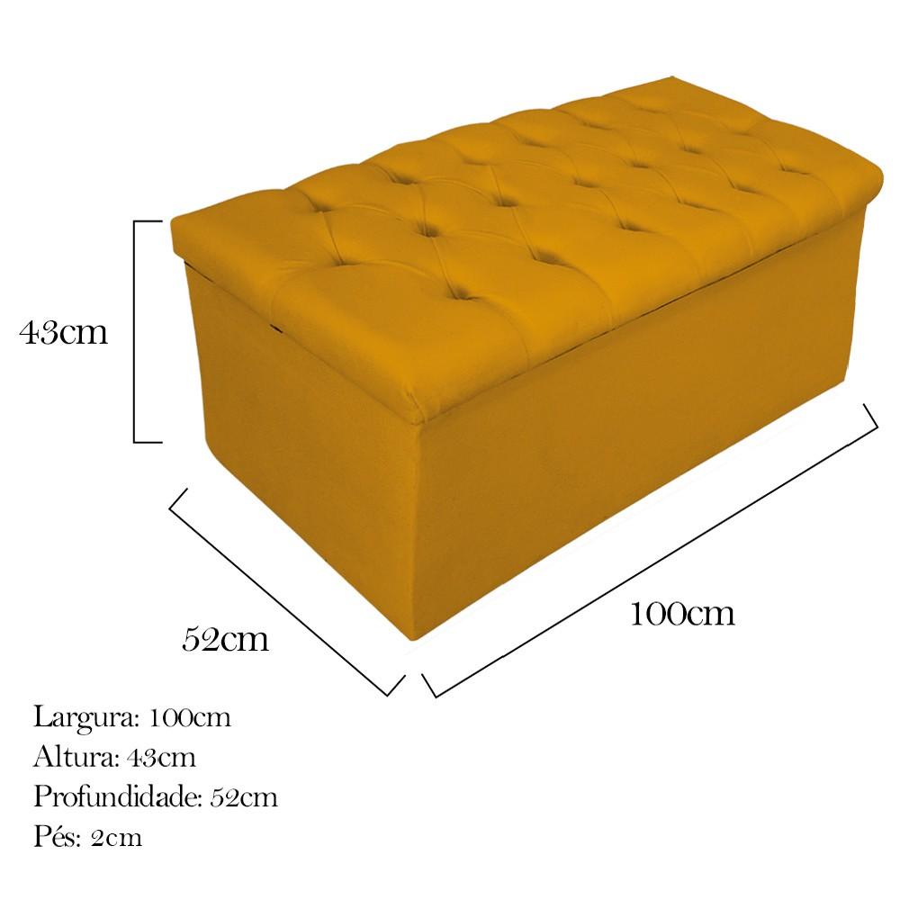 Kit Cabeceira e Calçadeira Baú Estofada Mel 100 cm Solteiro Com Botonê Suede Mostarda - ADJ Decor