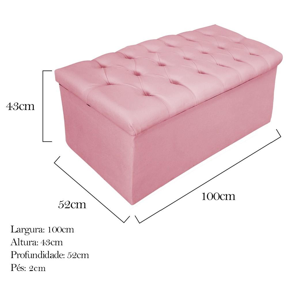 Kit Cabeceira e Calçadeira Baú Estofada Mel 100 cm Solteiro Com Botonê Suede Rosa Bebê - ADJ Decor