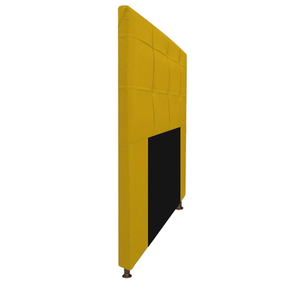 Kit Cabeceira e Calçadeira Baú Estofada Mel 100 cm Solteiro Com Capitonê Corano Amarelo - ADJ Decor
