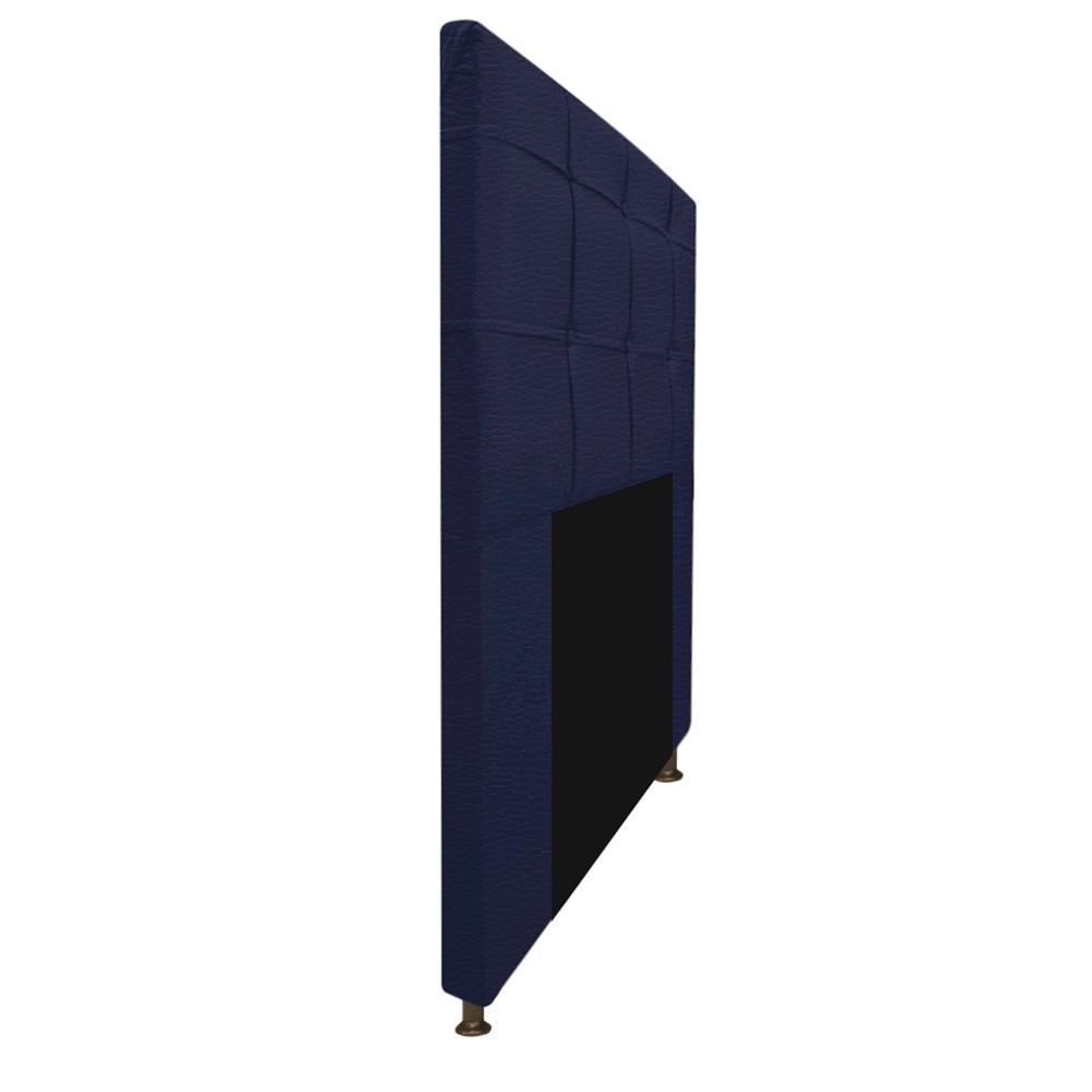 Kit Cabeceira e Calçadeira Baú Estofada Mel 100 cm Solteiro Com Capitonê Corano Azul Marinho - ADJ Decor